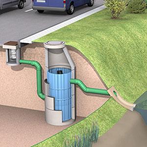 Filterschacht zur Reinigung von belastetem Regenwasser