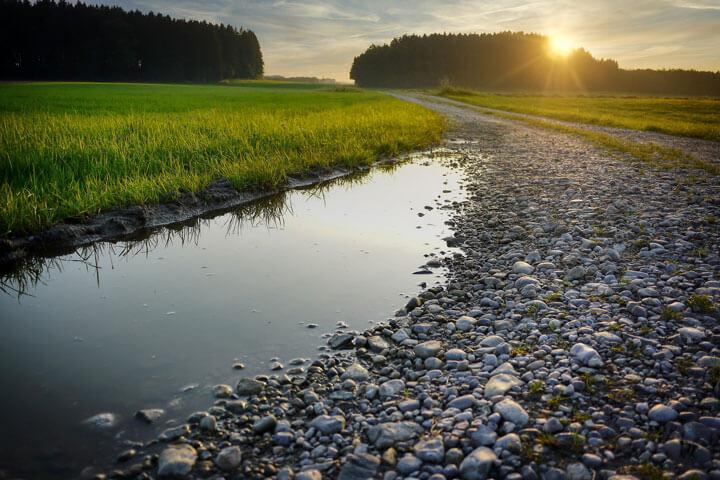 Regenwasserversickerung an einem Feldweg